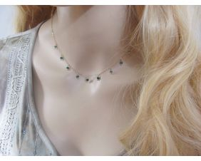 Genuine Emerald Necklace, Dangle Choker