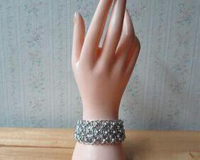 Chainmaille Helm Weave Cuff Bracelet - Silver