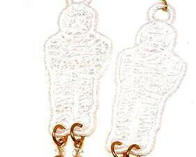 Handmade Halloween Mummy Dangle Earrings