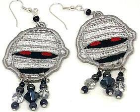 Handmade Halloween Mummy Face Dangle Earrings