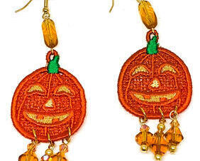 Handmade Halloween Pumpkin Dangle Earrings