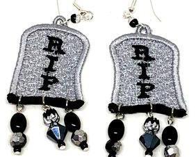 Handmade Halloween RIP Tombstone Dangle Earrings