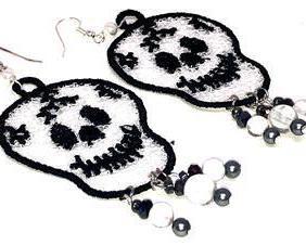 Handmade Halloween Skull Dangle Earrings