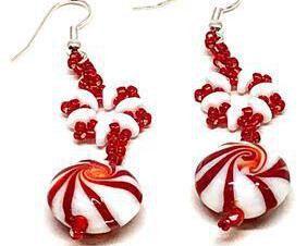 Handmade Red White Peppermint Candy Snowflake Earrings