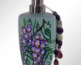 Hand Painted Wisteria Soap Dispenser
