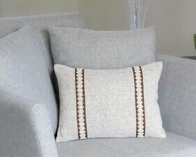 One of a kind oblong throw pillow