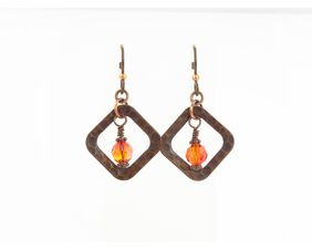 Hammered copper earrings with Swarovski Crystals