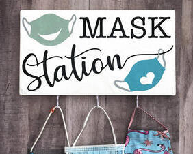 Face Mask Station, Wall Sign with Hooks