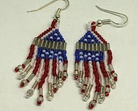 Red White Blue Flag Fringe Beadweaving Earrings