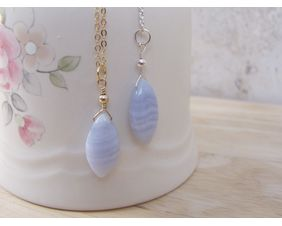 Blue Lace Agate Necklace, Natural Stone Pendant