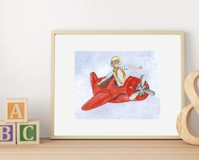 Boy Flying Red Plane Art