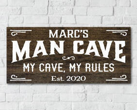 Personalized Man Cave Sign, My Cave, My Rules