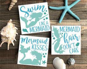 Mermaid Wood Sign Trio, Swim Like A Mermaid, Mermaid Hair Don't Care, Mermaid Kisses