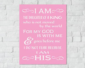Inspirational Girls Room Digital Downloads, I am the Daughter of a King