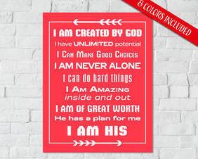 Inspirational Kids Room Digital Downloads, I Am Created By God I Am His