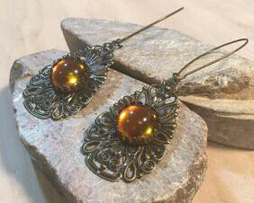 Bohemian Bronze and Topaz Dangle Teardrop filligree Earrings