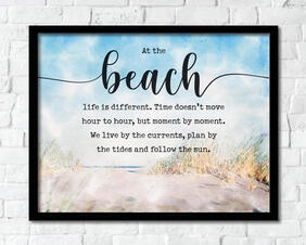 Watercolor Beach Art Instant Download, At the beach life is different