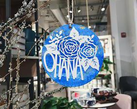ohana papercut art - family christmas ornament - handcut paper artwork - papercutting ornament - holiday decor