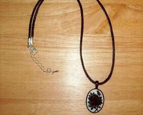 Black Rose Cameo Pendant Necklace, Satin Cord, 18X25 mm