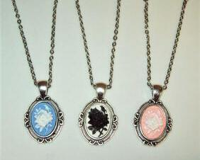Victorian Rose Cameo Pendant Necklace, Dainty Antique Setting