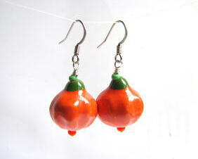 orange pumpkin dangle earrings