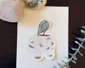Elephant Potted Plant Sticker Ivian Design Co