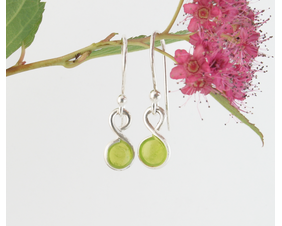 Tiny Chartreuse Fine Silver Earrings