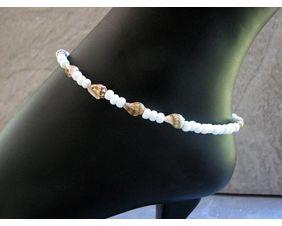 White beaded sea shell anklet