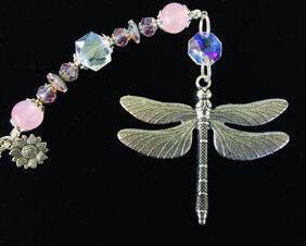 Dragonfly Car Charm Rear View Mirror Pink Rose Quartz Gemstone Beaded Crystal Prism Sun Catcher Dragonfly Suncatcher for Windows Dragonfly Ornament Sunflower Charm