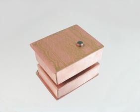 Tiny Hinge Lid Solid Copper Trinket Box with Jade gemstone