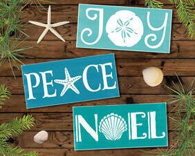 Coastal Christmas Sign Trio, Joy, Peace, Noel