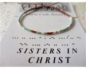 Sisters in Christ Morse Code Bracelet, Friendship Bracelet