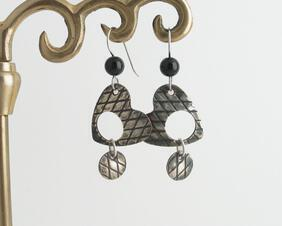 Silver Heart and Black Onyx Earrings