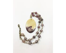 mauve earth tone statement necklace