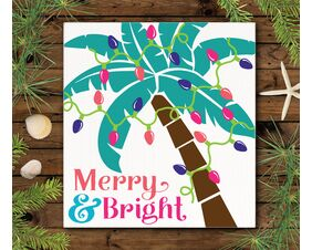 Merry And Bright Tropical Christmas Sign