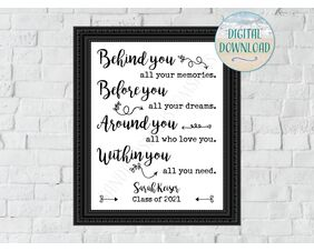 Personalized Graduation Sign, Behind you all your memories, Printable Download