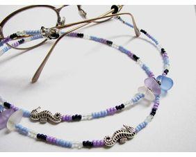 Seahorse and sea glass eyeglass chain