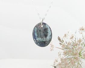 Necklace Copper Enamel Queen Anne's Lace