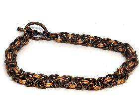 Bronze Byzantine Chainmaille Statement Bracelet