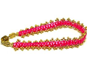 Think Pink Cancer Awareness Gold Double Picot Superduo Bracelet