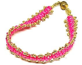 Think Pink Cancer Awareness Gold Picot Superduo Bracelet