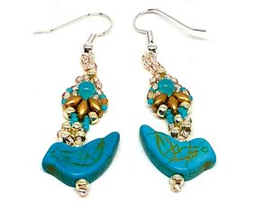 Turquoise Gold Silver Bird Earrings