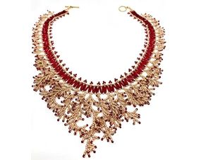 Red Rose Gold Fringe Beadweaving Necklace