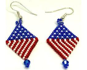 Red White Blue Diamond Earrings