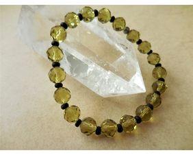 Crystal Stretch Bracelet in Light Olive Green