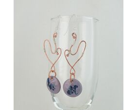 Lilac & Blue Enamel Copper & Sterling Earrings