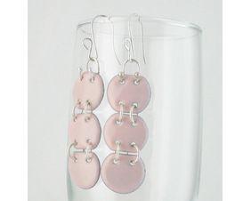 Pink Copper Enamel & Sterling Articulated Earrings