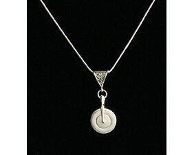 Silver pointed arm flute key necklace music for the eyes.  Handcrafted in silver and considered the most beautiful key on the flute.