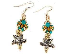 Handmade Turquoise Gold Silver Shell Starfish Earrings