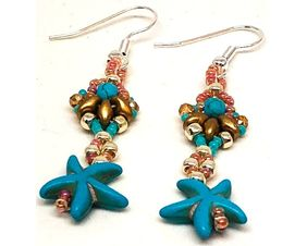 Handmade Turquoise Gold Silver Starfish Earrings